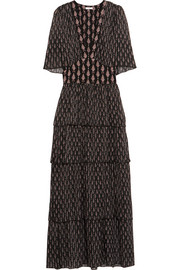Tanya tiered paisley-print silk-chiffon dress