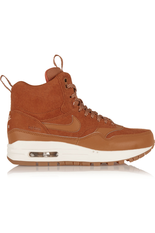 lavanda dignidad monigote de nieve  Tan Air Max 1 suede and leather high-top sneakers | Nike | NET-A-PORTER