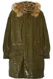 Sequined cotton and faux fur parka