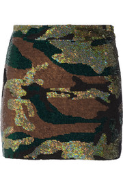 Camouflage-sequined silk-georgette mini skirt