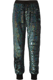 Lace-paneled sequined silk-georgette track pants