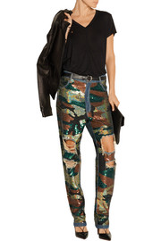 Sequin-embellished distressed high-rise boyfriend jeans