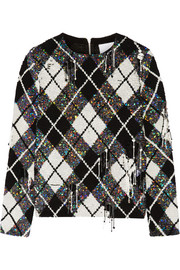 Distressed embellished argyle silk-georgette top