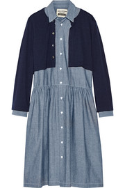 Layered wool and cotton-chambray dress