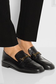 Melanie lizard-effect leather loafers