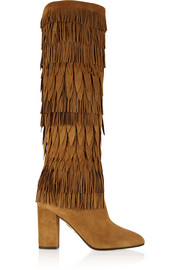 Woodstock fringed suede knee boots
