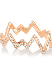 Pop Art 18-karat rose gold diamond ring
