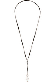 Rosary 18-karat rose gold, onyx and diamond necklace