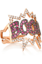 BOOM 18-karat rose gold, diamond and sapphire ring