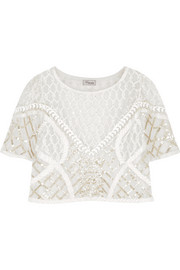 Cropped embroidered tulle top