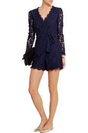 Coco cotton-blend lace playsuit