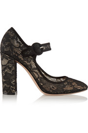 Suede-trimmed Chantilly lace Mary Jane pumps