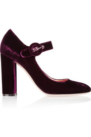 Velvet Mary Jane pumps