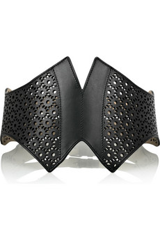 Alaïa Broderie Anglaise peaked leather belt