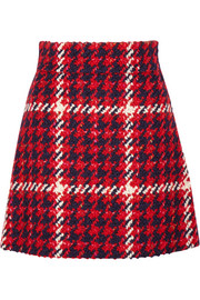 Miu Miu Houndstooth wool and cotton-blend bouclé-tweed mini skirt