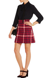 Houndstooth wool and cotton-blend bouclé-tweed mini skirt