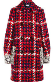Miu Miu Python-trimmed bouclé-tweed coat