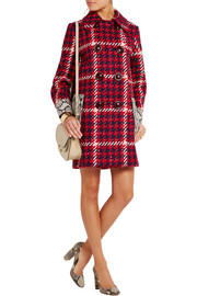 Python-trimmed boucl�-tweed coat