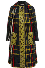 Python-paneled plaid boucl�-tweed coat