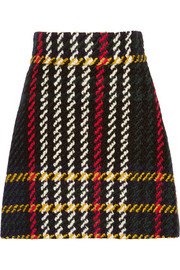 Plaid bouclé-tweed mini skirt