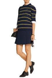 Pointelle-paneled striped wool sweater