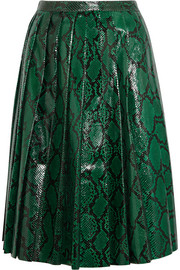 Miu Miu Pleated glossed-python skirt