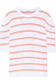 Miu Miu Pointelle-paneled striped cotton sweater
