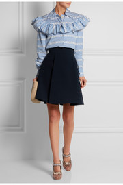 Ruffled cotton-poplin blouse