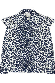 Ruffled leopard-print cotton-faille blouse