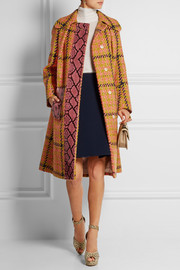 Python-trimmed houndstooth wool and cotton-blend coat