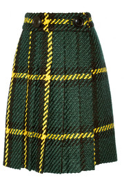 Pleated plaid wool and cotton-blend bouclé-tweed skirt