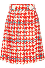 Pleated houndstooth wool and cotton-blend bouclé-tweed skirt