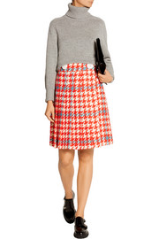 Pleated houndstooth wool and cotton-blend boucl�-tweed skirt