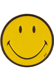 Smiley Face textured-leather adhesive sticker