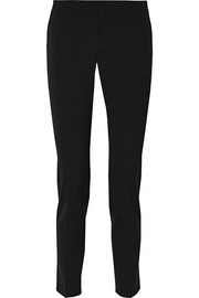 Stretch wool and silk-blend tapered pants