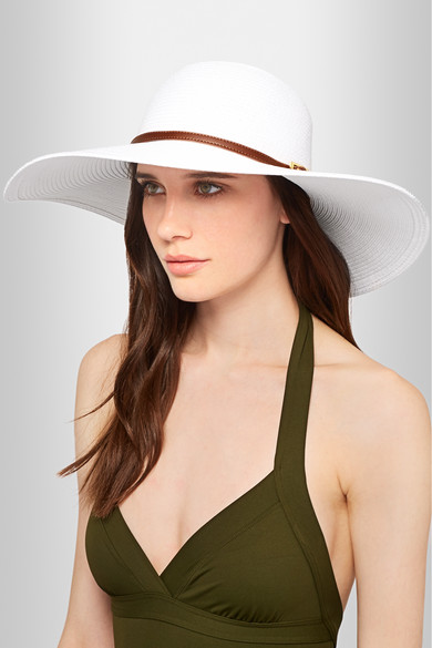 Melissa Odabash. Jemima faux leather-trimmed paper wide-brim hat 9db41359bce
