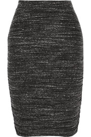 Ruched mélange jersey skirt