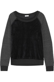 Paneled velvet and jersey sweatshirt