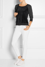 Splendid Paneled velvet and jersey sweatshirt