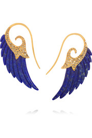 Wing 18-karat gold, diamond and lapis lazuli earrings