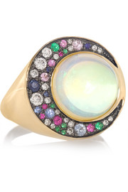Eclipse 18-karat gray gold multi-stone ring