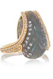 Glyptique 18-karat gold, labradorite and diamond ring