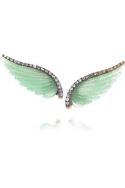 Wing 18-karat gray gold, aventurine and diamond earrings