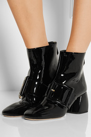 Miu Miu Buckled patent-leather ankle boots