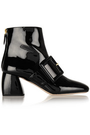 Buckled patent-leather ankle boots