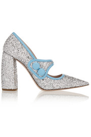 Miu Miu Glittered patent-leather pumps