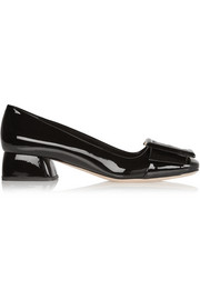 Buckled patent-leather pumps