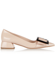 Miu Miu Buckled patent-leather pumps