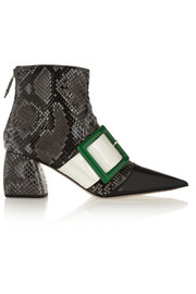 Glossed-python and leather ankle boots