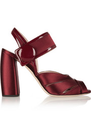 Patent leather-trimmed satin sandals